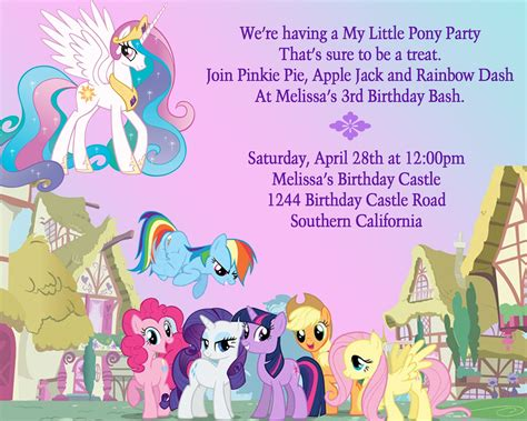 printable birthday invitations my little pony birthday party ideas my little pony birthday party