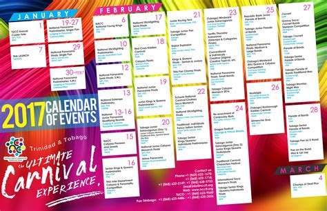 Calendar Events 2018 Calendar Of Events 2017