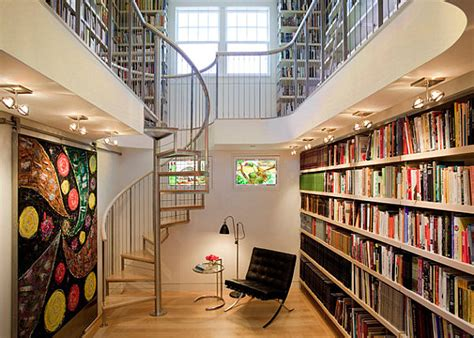 library near home make a statement with spiral stairs