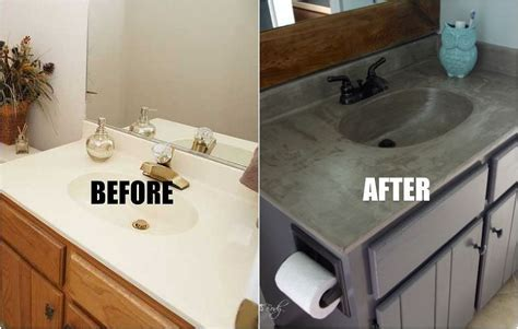 DIY Concrete Vanity for $20 Our bathrooms are full of cultured, diy painting bathroom vanity   TSC