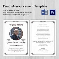 free funeral announcement templates announcement 5 word psd format free