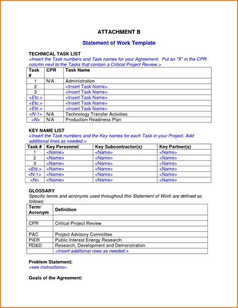 template for statement of work 8 statement of work templatereference letters words