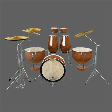 Kaos 3d Umakuka Drum Set 3d model drum set kit percussion
