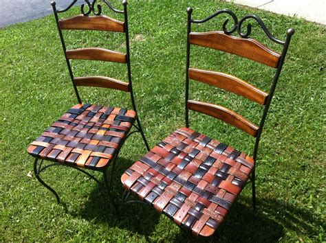 made kitchen chair set with woven leather recycled