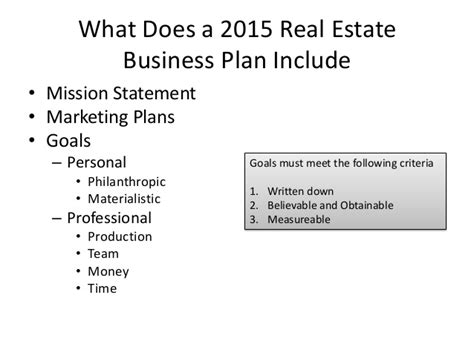 what does template why real estate agents need business plans 2015