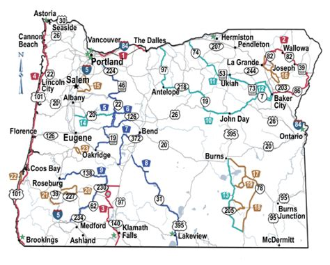 map of oregon interstates oregon scenic byways tripcheck oregon traveler information