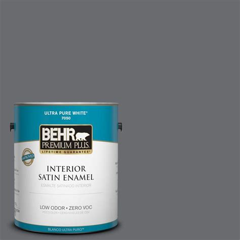 behr premium plus 1 gal ppf 49 platinum gray zero voc satin enamel interior paint 730001 the