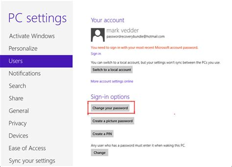windows reset password windows 8 how to change windows 8 password for local account and