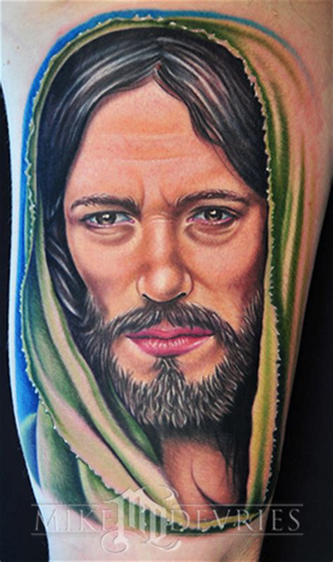 mike devries tattoos portrait jesus tattoo