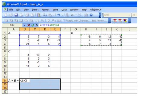 matrix operations with excel