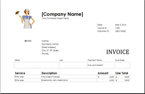 sle invoice house cleaning service download ms excel service invoice templates excel template