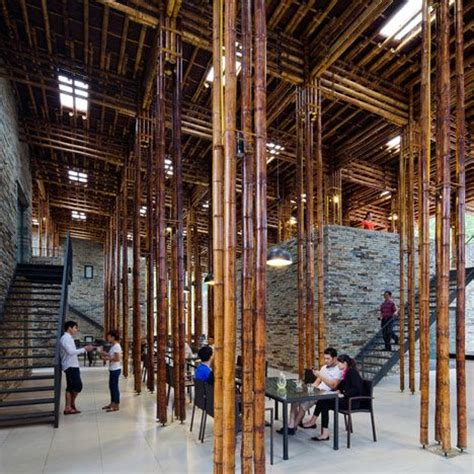 clustered lengths of bamboo create a forest of columns in