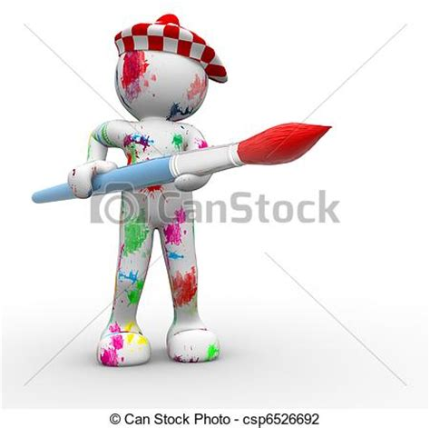 can stock photo clipart clip of painter 3d human character painter