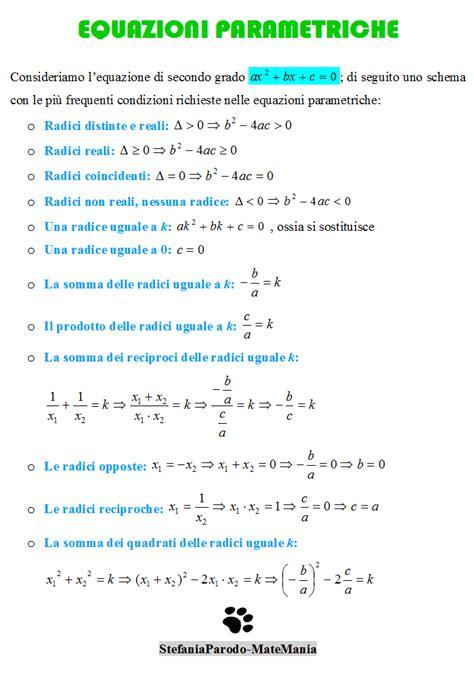 equazioni parametriche casi matemania equazioni parametriche