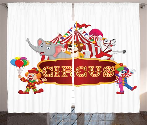 circus themed curtains cute circus animals and striped cirus tent party theme art