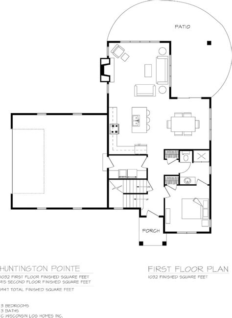 hungtington pointe log home floor plan from wisconsin log