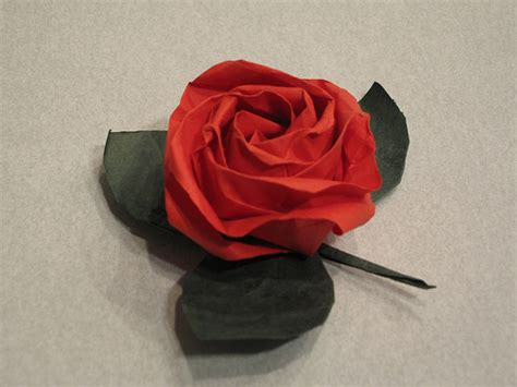 Folded Paper Roses - kawasaki and leaf folded by j v page of origami mitr