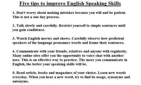 five tips to improve speaking skills