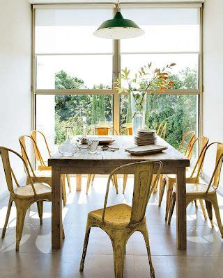 yellow dining room table farmhouse table and yellow tolix