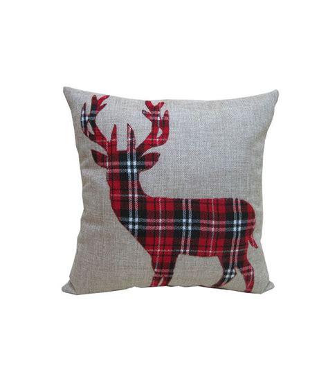 deer antlers and plaid for christmas cheer burlap plaid deer pillow with jo deer rustic and cheer