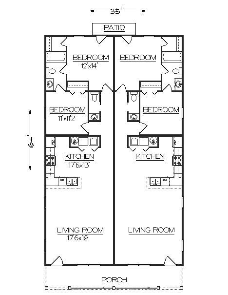 duplex narrow lot floor plans duplex j2030d plansource duplex plans