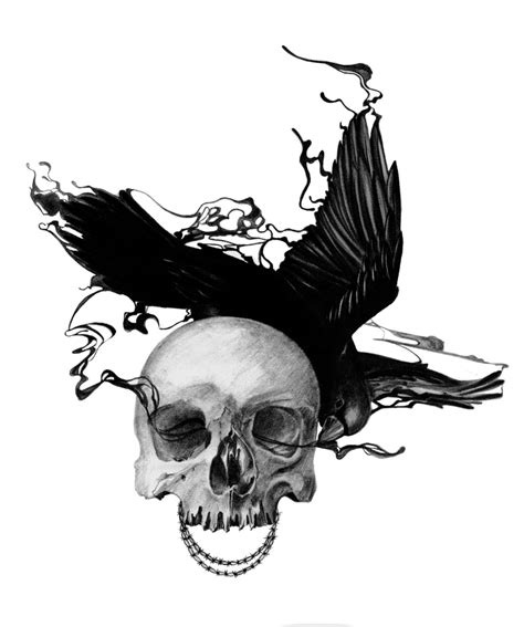 raven and skull tattoo and skull by pyromaniacfeline17 on deviantart