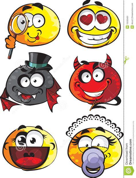 banco delle emozioni insieme delle emozioni rotonde di sorrisi illustrazione di