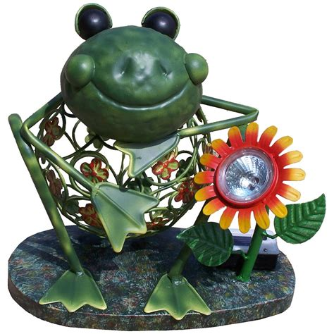Deleon Collections Metal Frog Solar Light 176883 Patio Solar Frog Light