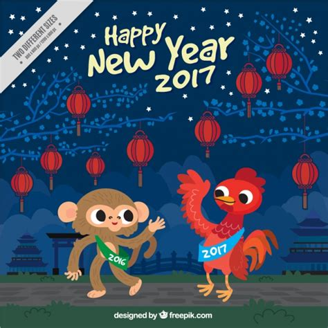 new year monkey free new year background with monkey and rooster vector