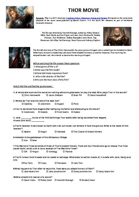 film quiz worksheet movie worksheet thor