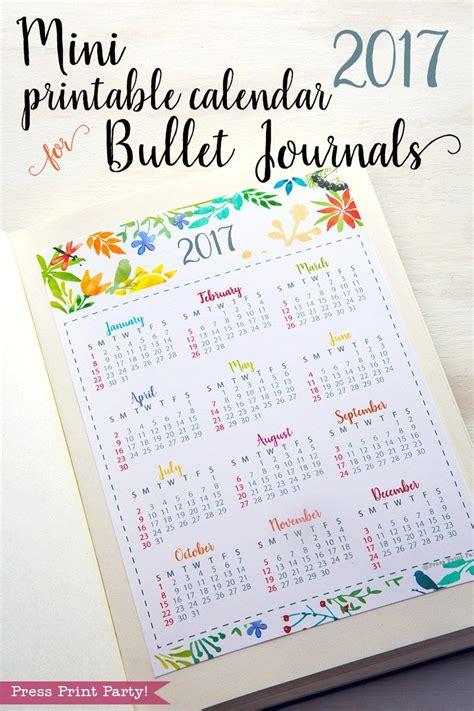 printable calendar bullet journal mini 2017 calendar printable for bullet journals press
