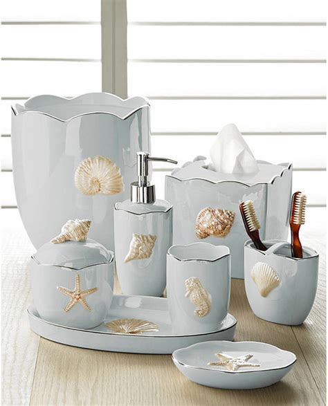 Spa Themed Bathroom Ideas - marie shells seafoam bath accessories set coastal style beach style bathroom accessories