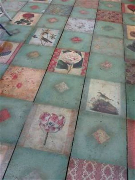 decoupage concrete floor this is a decoupaged floor this idea not the same