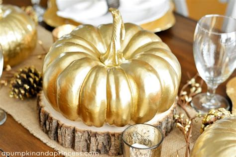 gold pumpkin centerpieces thanksgiving inspired gold table decor dinner a