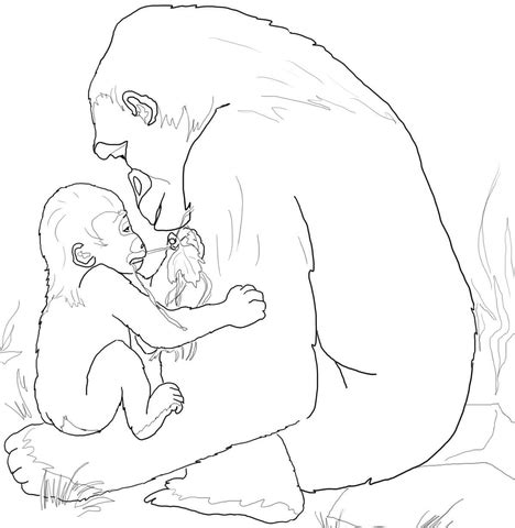 baby gorilla coloring page baby gorilla playing with mother coloring page free
