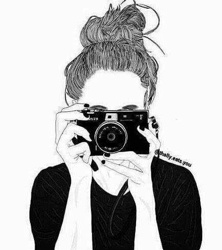 black and white, camera, cute, drawing, girl image
