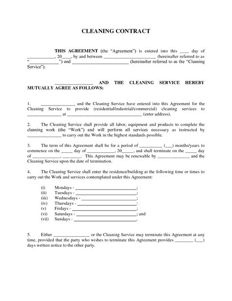 client service agreement template service sle service agreement cleaning