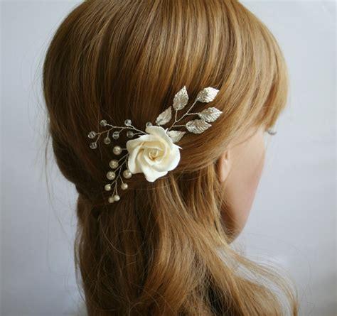 Bridal Flower Hair Pin clay wedding flower hair pin bridal flower hair pin