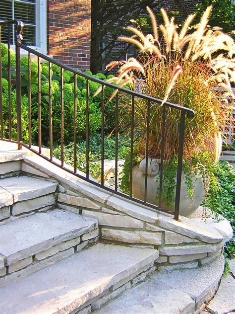 front step railings landscape traditional  black