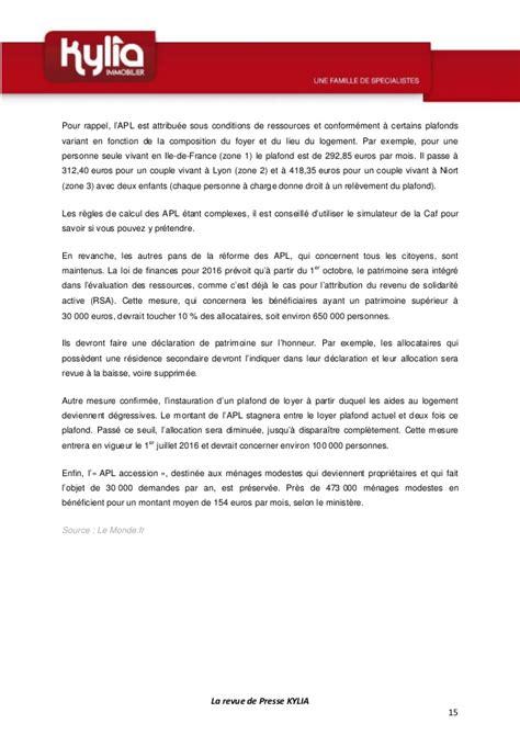 Plafond Pour Percevoir L Apl by La Revue De Presse De La Semaine Du 4 Au 10 Janvier 2016
