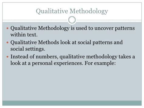 qualitative pattern definition it is possible to blend both quantative and