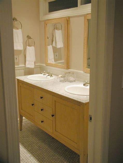 bathroom vanity maple maple vanity with light sink like the framed mirrors and wainscoting harvest maple