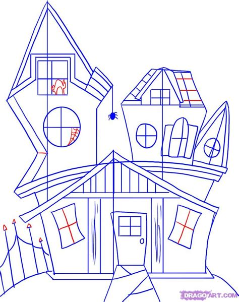 how to draw a spooky house step by step halloween how to draw a spooky house step by step halloween