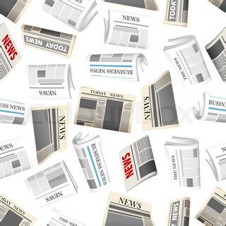 newspaper theme vector fresh daily newspapers seamless pattern of cartoon folded