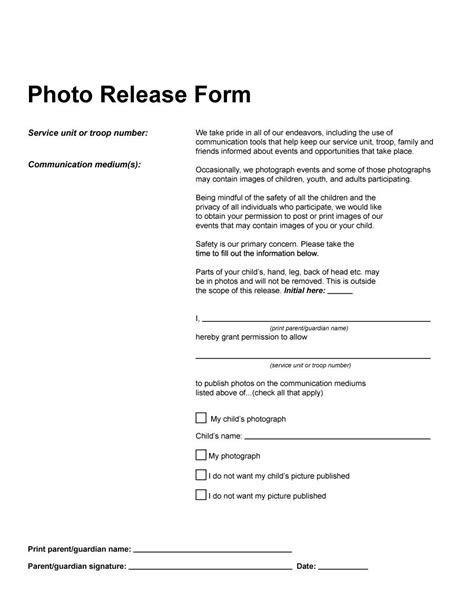 53 Free Photo Release Form Templates Word Pdf ᐅ Template Lab Photo Release Template