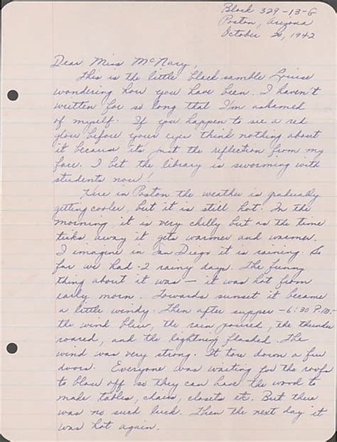 Letter Louise Letter To Helen Mcnary From Louise Ogawa Poston Arizona October Collections Japanese