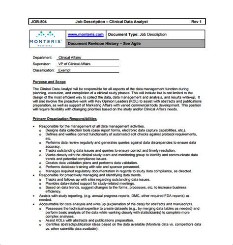 data analyst job description template 10 free word pdf