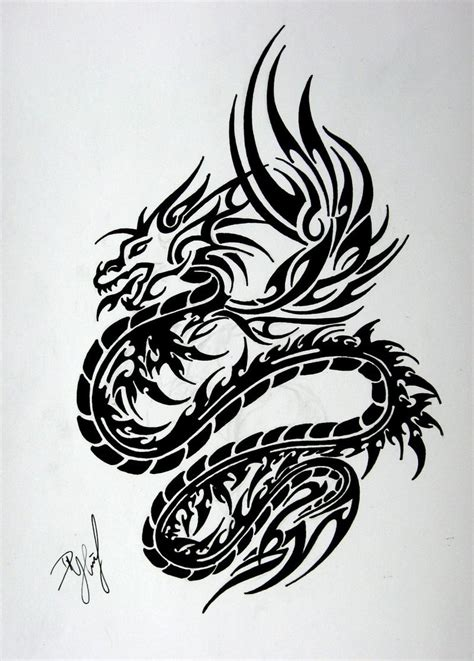tribal dragon tattoos tribal