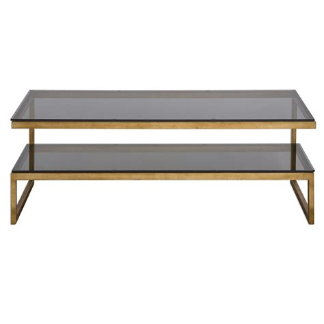 Coffee Table Tempered Glass Adeen Gold Cantilevered Iron Coffee Table With Smoke Grey Tempered Glass Top