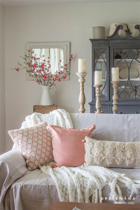 blush and bashful accents in the living room